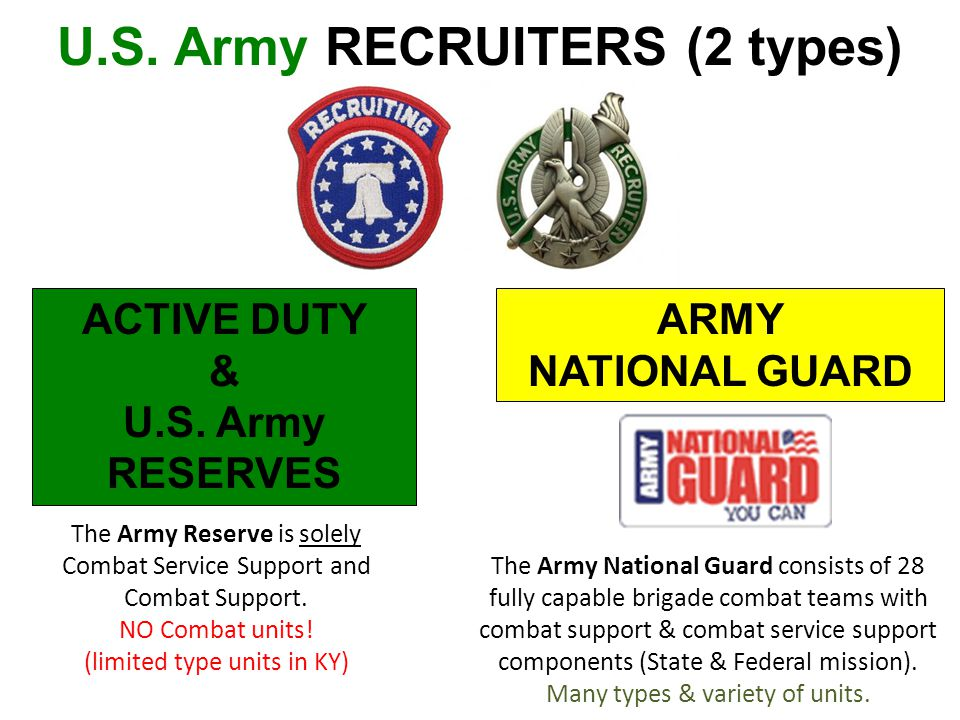 U.S. Army RECRUITERS (2 types) ACTIVE DUTY & U.S. Army RESERVES ARMY NATIONAL GUARD The Army Reserve is solely Combat Service Support and Combat Suppo