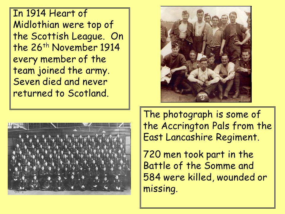 In 1914 Heart of Midlothian were top of the Scottish League. On the 26 th November 1914 every member of the team joined the army. Seven died and never