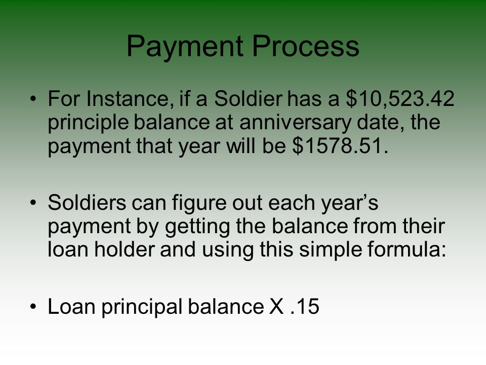 Payment Process For Instance, if a Soldier has a $10,523.42 principle balance at anniversary date, the payment that year will be $1578.51. Soldiers ca