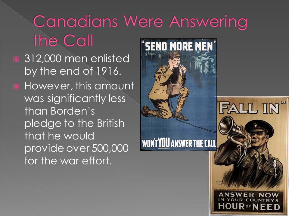  312,000 men enlisted by the end of 1916.  However, this amount was significantly less than Borden's pledge to the British that he would provide ove