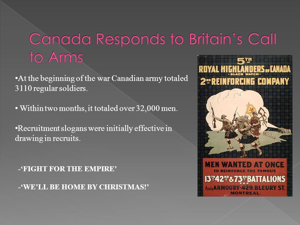 At the beginning of the war Canadian army totaled 3110 regular soldiers. Within two months, it totaled over 32,000 men. Recruitment slogans were initi