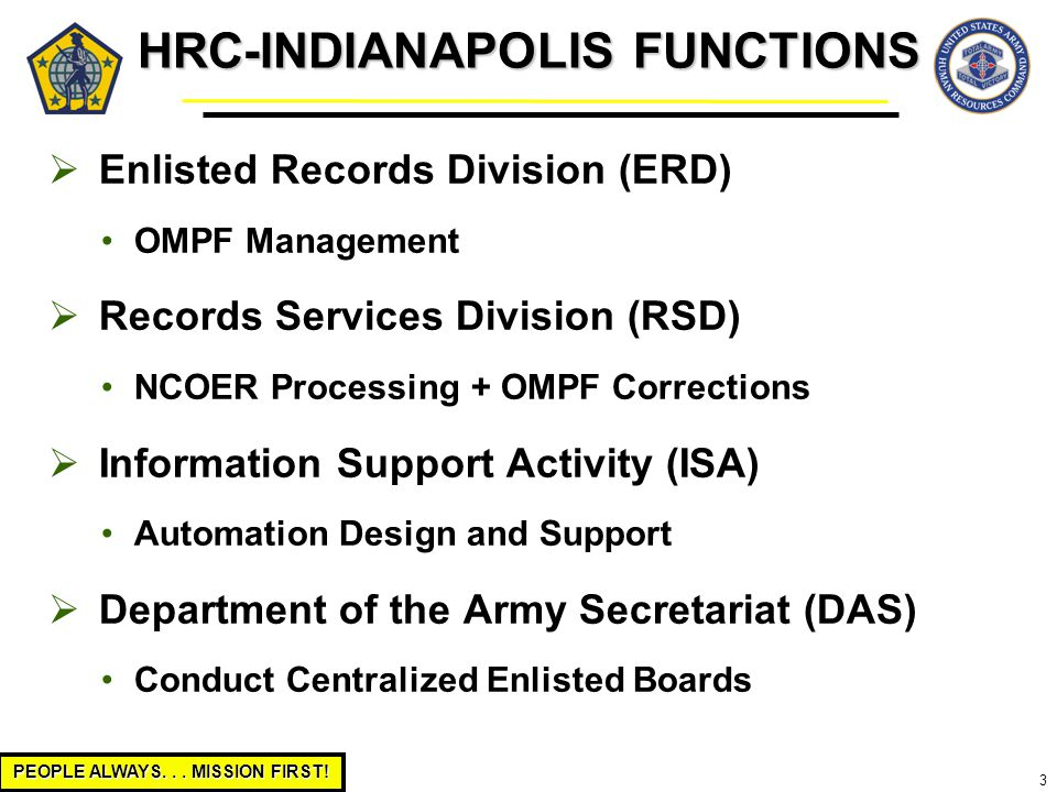 PEOPLE ALWAYS... MISSION FIRST! 3 HRC-INDIANAPOLIS FUNCTIONS  Enlisted Records Division (ERD) OMPF Management  Records Services Division (RSD) NCOER
