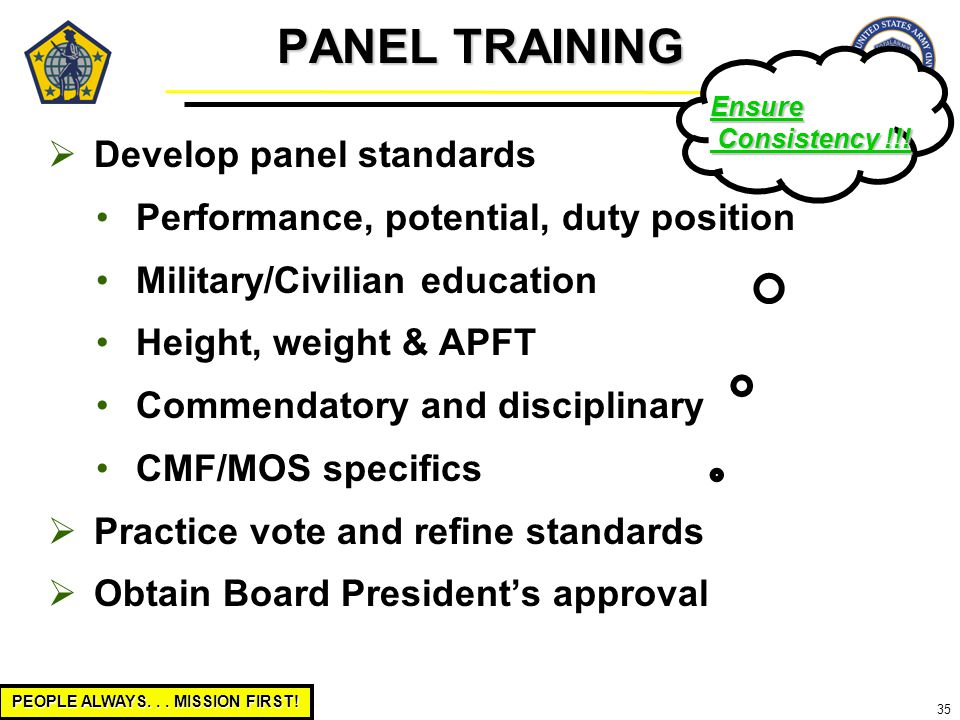 PEOPLE ALWAYS... MISSION FIRST! 35  Develop panel standards Performance, potential, duty position Military/Civilian education Height, weight & APFT C