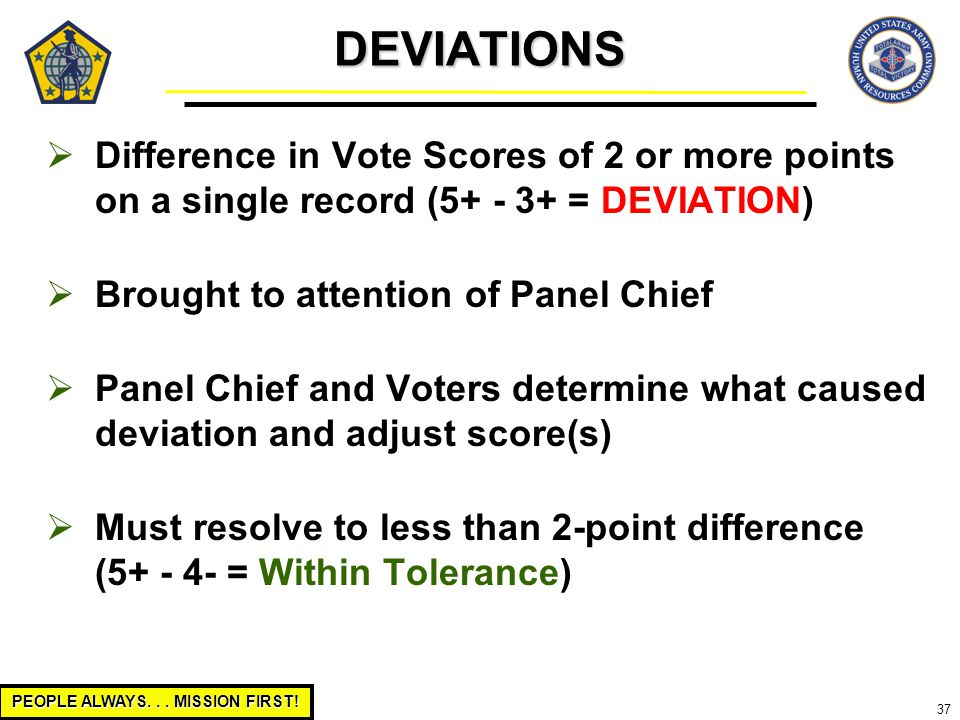 PEOPLE ALWAYS... MISSION FIRST! 37  Difference in Vote Scores of 2 or more points on a single record (5+ - 3+ = DEVIATION)  Brought to attention of