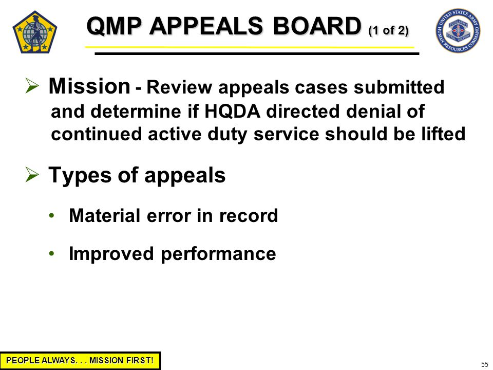 PEOPLE ALWAYS... MISSION FIRST! 55 QMP APPEALS BOARD (1 of 2)  Mission - Review appeals cases submitted and determine if HQDA directed denial of cont