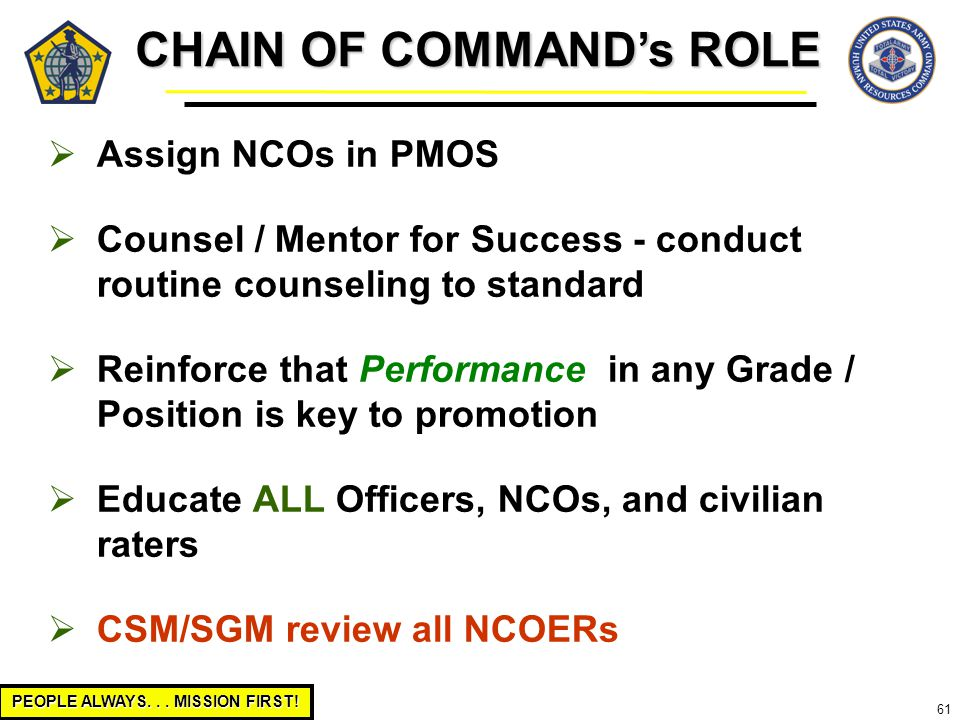 PEOPLE ALWAYS... MISSION FIRST! 61  Assign NCOs in PMOS  Counsel / Mentor for Success - conduct routine counseling to standard  Reinforce that Perf
