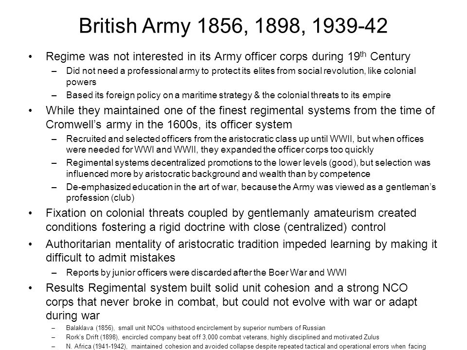 British Army 1856, 1898, 1939-42 Regime was not interested in its Army officer corps during 19 th Century –Did not need a professional army to protect