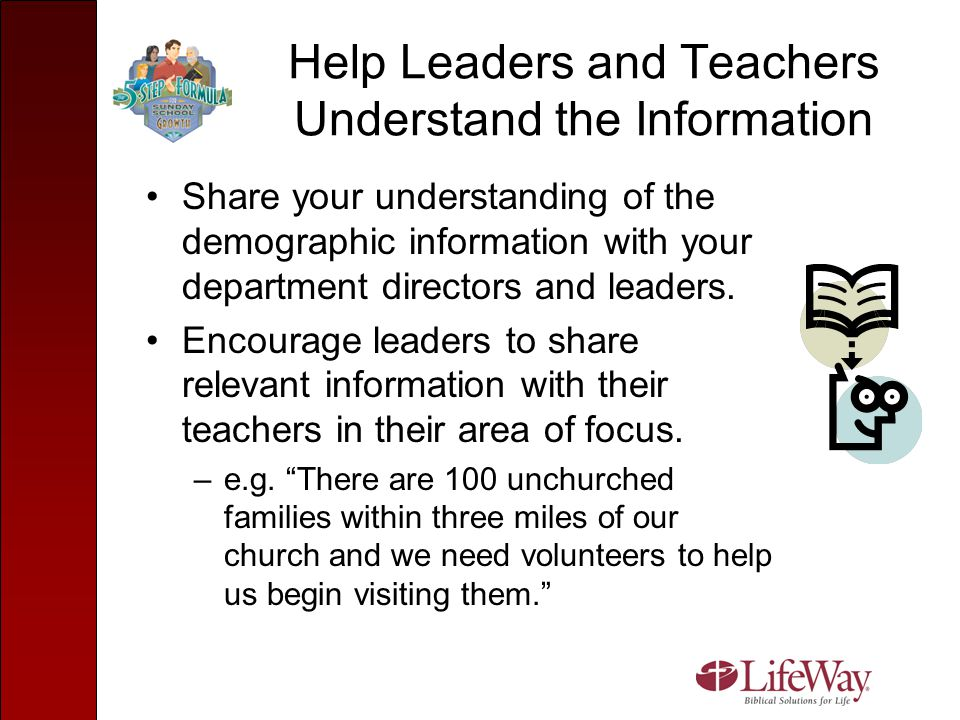 Help Leaders and Teachers Understand the Information Share your understanding of the demographic information with your department directors and leader