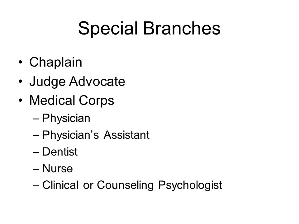 Special Branches Chaplain Judge Advocate Medical Corps –Physician –Physician's Assistant –Dentist –Nurse –Clinical or Counseling Psychologist