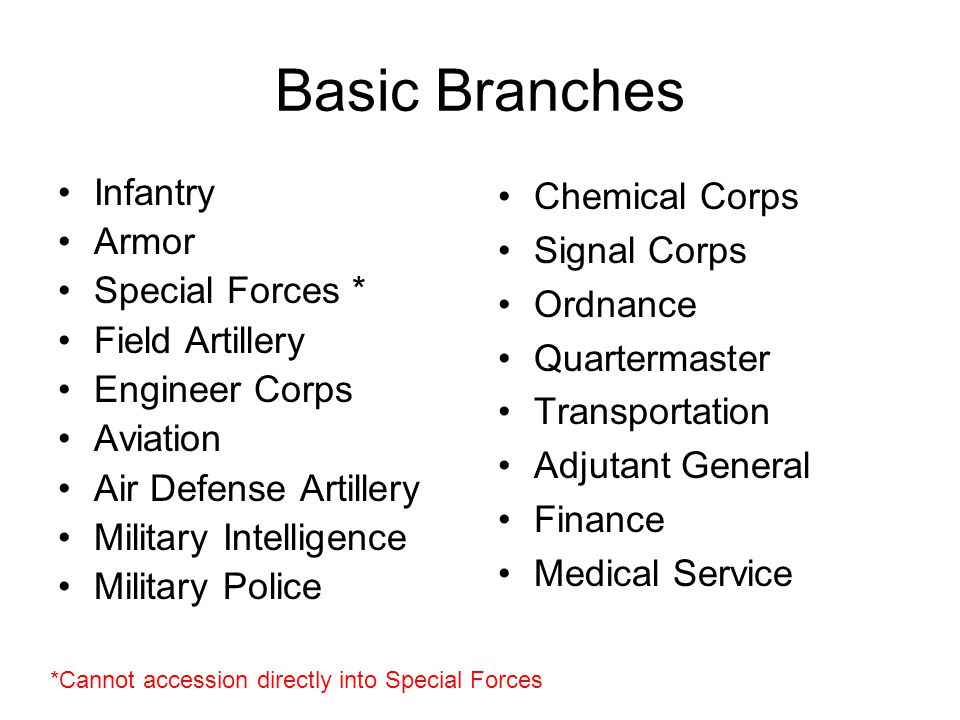 Basic Branches Infantry Armor Special Forces * Field Artillery Engineer Corps Aviation Air Defense Artillery Military Intelligence Military Police Chemical Corps Signal Corps Ordnance Quartermaster Transportation Adjutant General Finance Medical Service *Cannot accession directly into Special Forces
