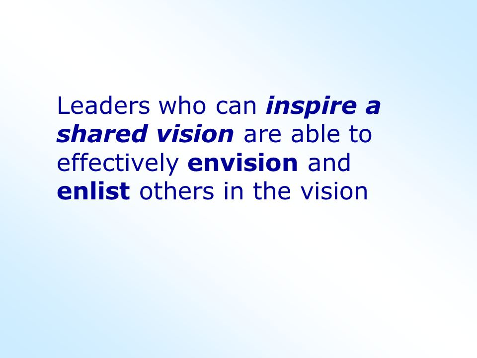 Exemplary leaders are forward-looking and have the capacity to envision the future… they have the ability to project themselves ahead in time