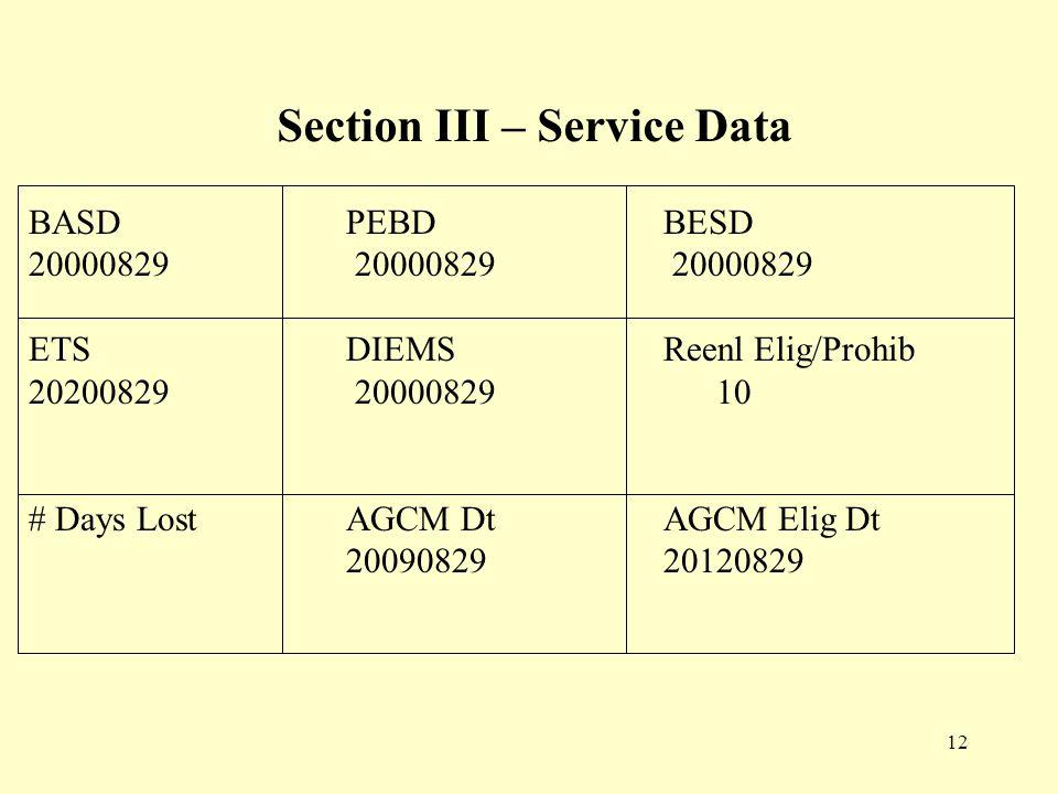 12 BASDPEBDBESD 20000829 20000829 20000829 ETSDIEMSReenl Elig/Prohib 20200829 20000829 10 # Days LostAGCM DtAGCM Elig Dt 2009082920120829 Section III – Service Data