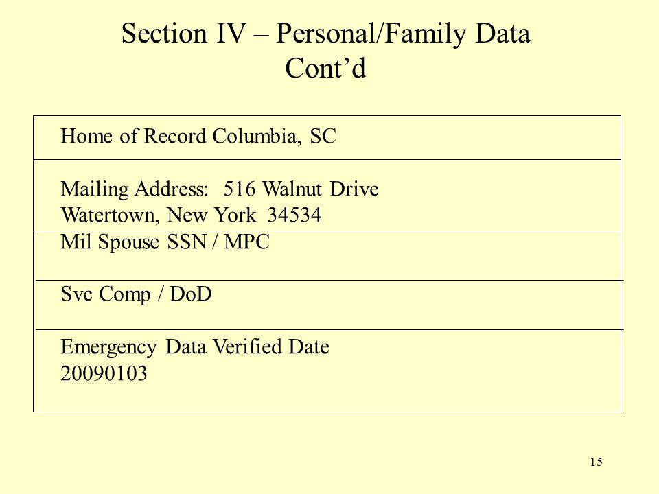 15 Section IV – Personal/Family Data Cont'd Home of Record Columbia, SC Mailing Address: 516 Walnut Drive Watertown, New York 34534 Mil Spouse SSN / MPC Svc Comp / DoD Emergency Data Verified Date 20090103