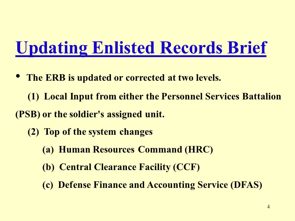 5 Enlisted Record Brief - Heading ERB PRODUCTION DATE BRIEF DATE: 20101229 NAME: SMITH, SNUFFY ELMER