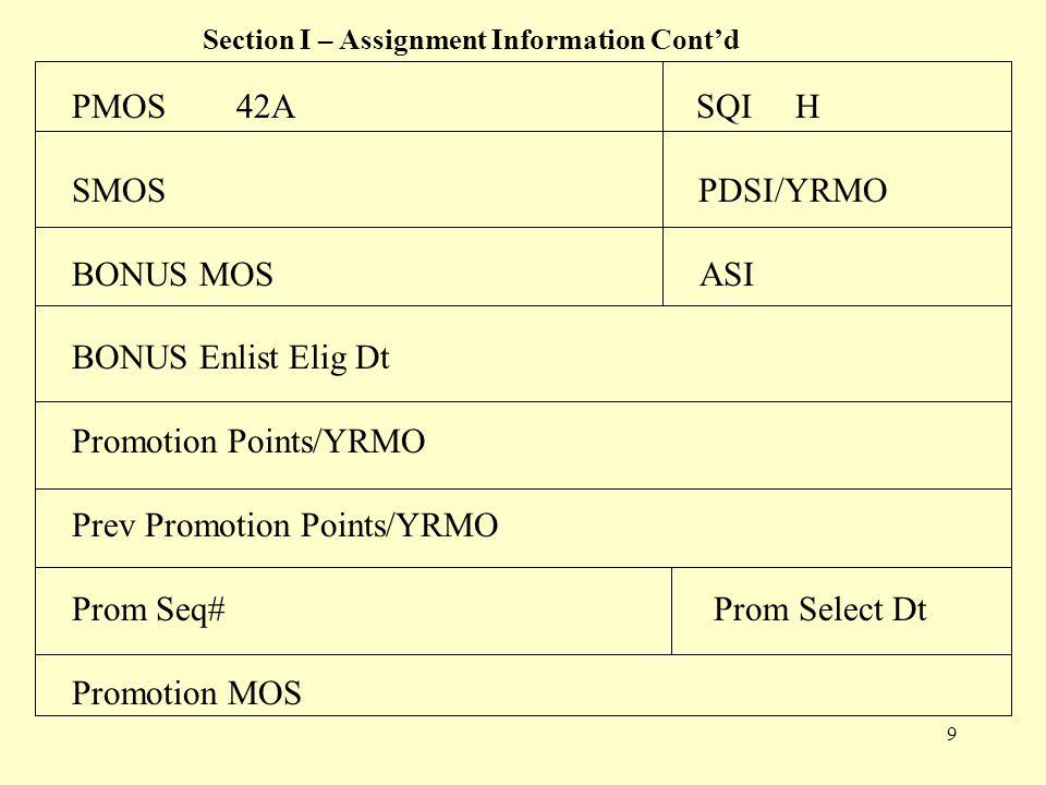 10 Section I – Assignment Information Cont'd ASVAB Test #/ Dt 20000515 GT 116 ELEC 113 FOOD100 TECH 104 ADMIN 117 FA 114 COMMO 111 CMBT 96 MECH 91 MAINT 96 Delay Separation Reason AEA / DT L/ Flag Code Flag Start Dt Flag Expiration Dt
