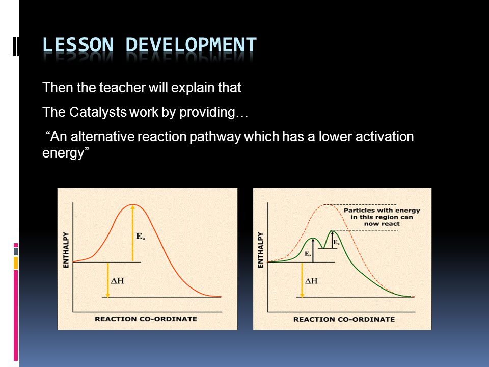 Then the teacher will explain that The Catalysts work by providing… An alternative reaction pathway which has a lower activation energy