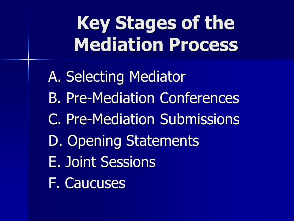 Key Stages of the Mediation Process A. Selecting Mediator B.