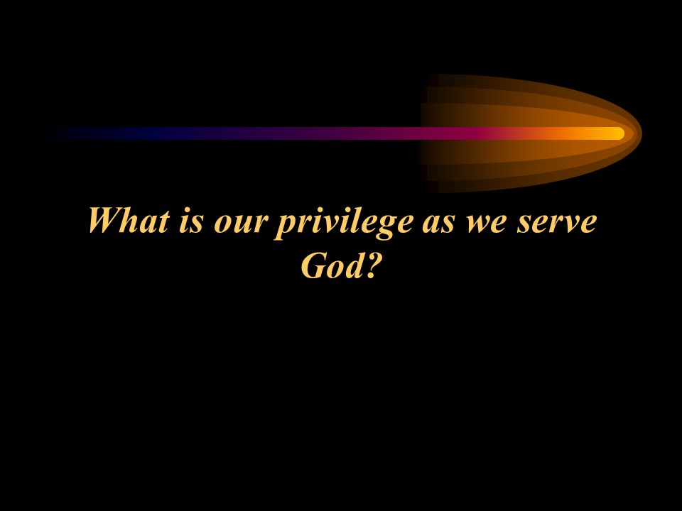 What is our privilege as we serve God?
