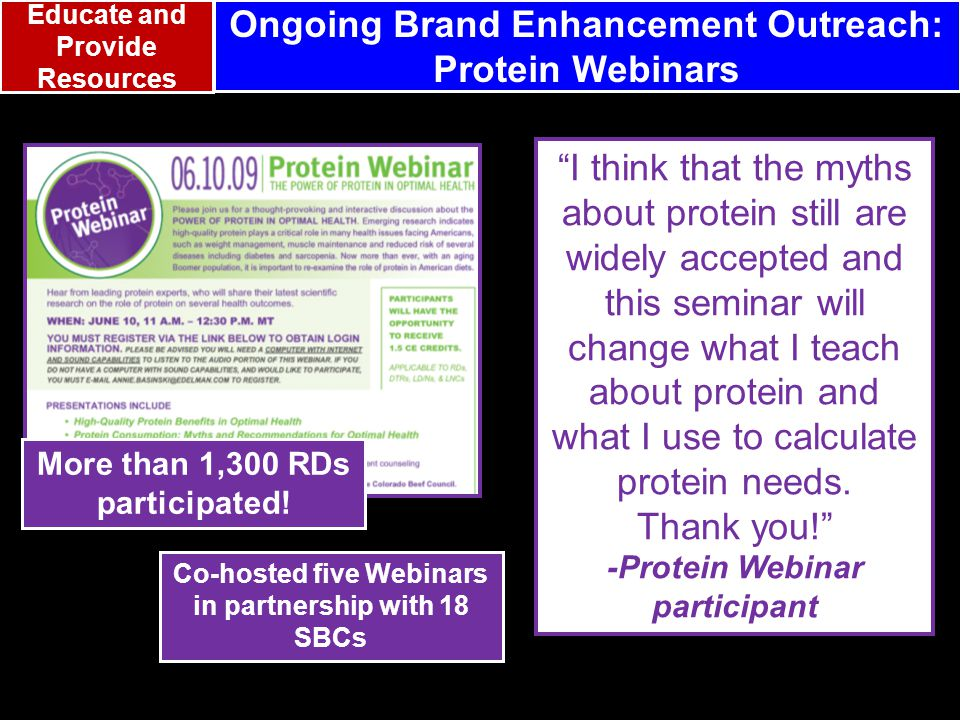 I think that the myths about protein still are widely accepted and this seminar will change what I teach about protein and what I use to calculate protein needs.
