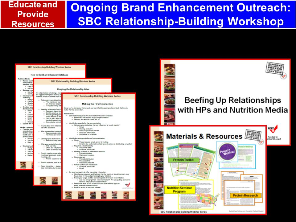 Ongoing Brand Enhancement Outreach: SBC Relationship-Building Workshop Educate and Provide Resources