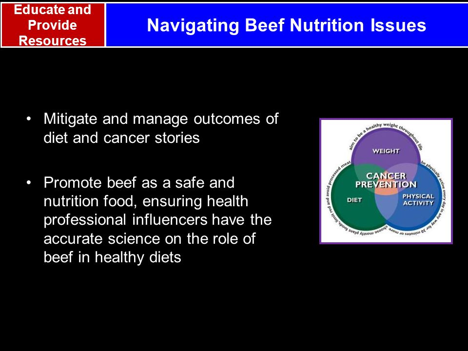 Mitigate and manage outcomes of diet and cancer stories Promote beef as a safe and nutrition food, ensuring health professional influencers have the accurate science on the role of beef in healthy diets Navigating Beef Nutrition Issues Educate and Provide Resources