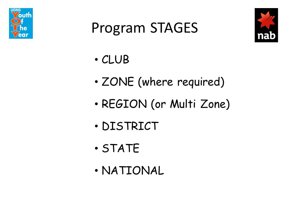 Program STAGES CLUB ZONE (where required) REGION (or Multi Zone) DISTRICT STATE NATIONAL