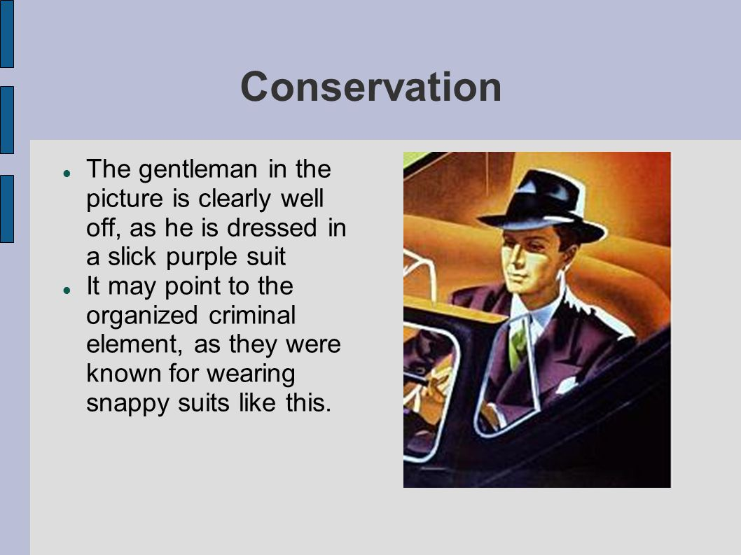 Conservation The gentleman in the picture is clearly well off, as he is dressed in a slick purple suit It may point to the organized criminal element,