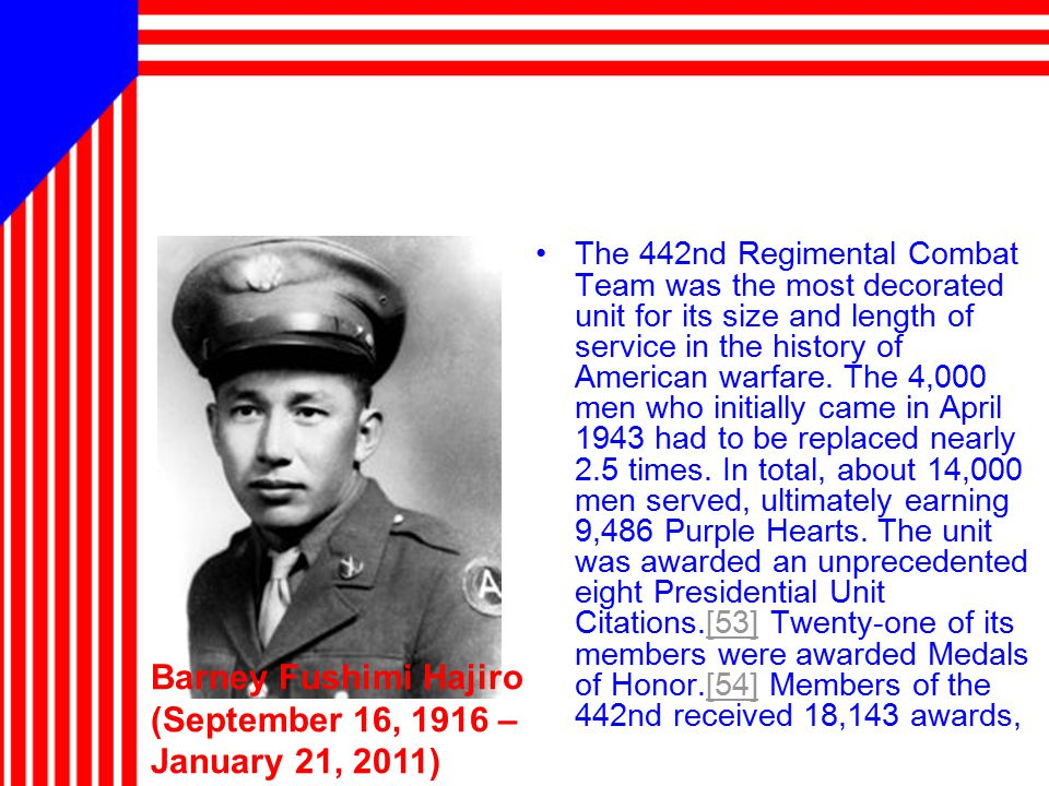 The 442nd Regimental Combat Team was the most decorated unit for its size and length of service in the history of American warfare.