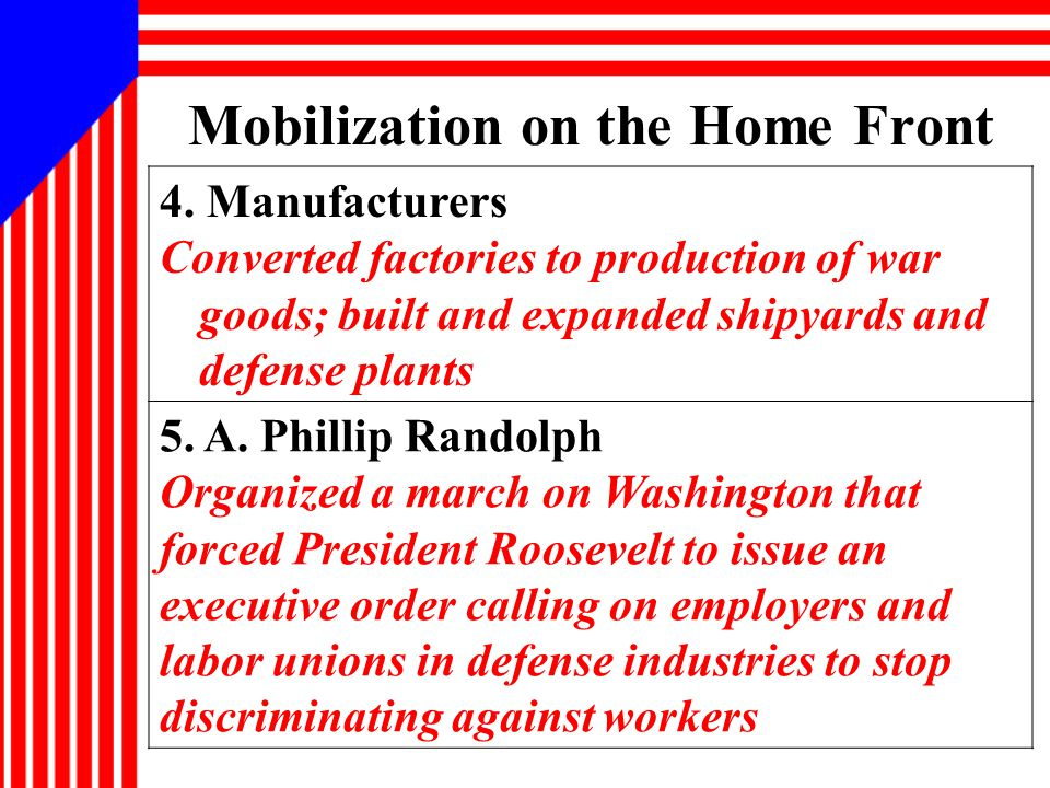 Mobilization on the Home Front 4.