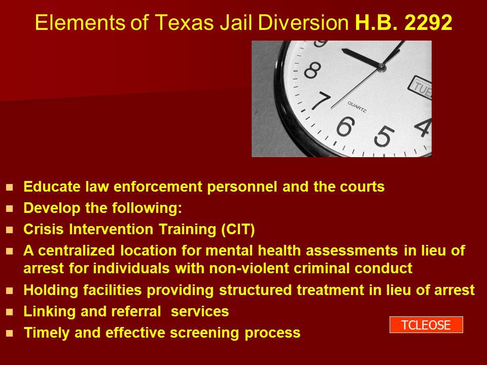 Elements of Texas Jail Diversion H.B.
