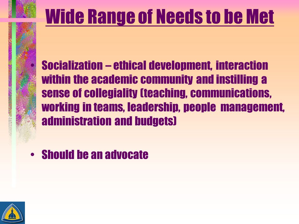 Wide Range of Needs to be Met Socialization – ethical development, interaction within the academic community and instilling a sense of collegiality (t