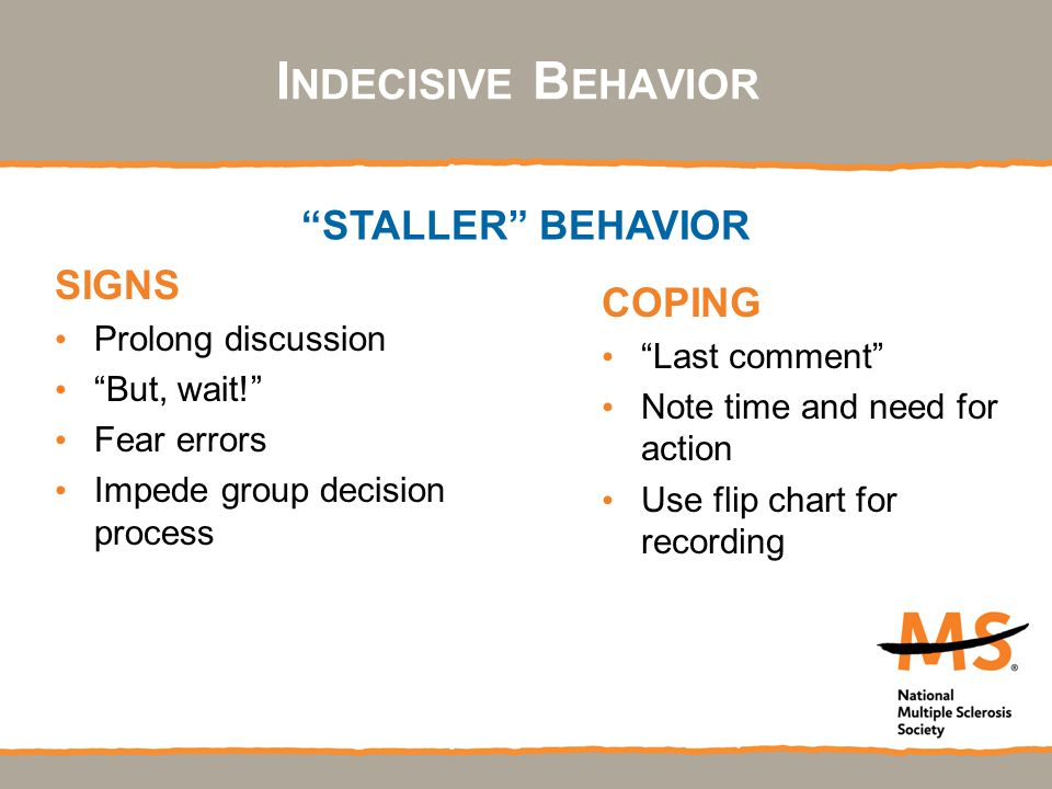 I NDECISIVE B EHAVIOR SIGNS Prolong discussion But, wait! Fear errors Impede group decision process COPING Last comment Note time and need for action Use flip chart for recording STALLER BEHAVIOR