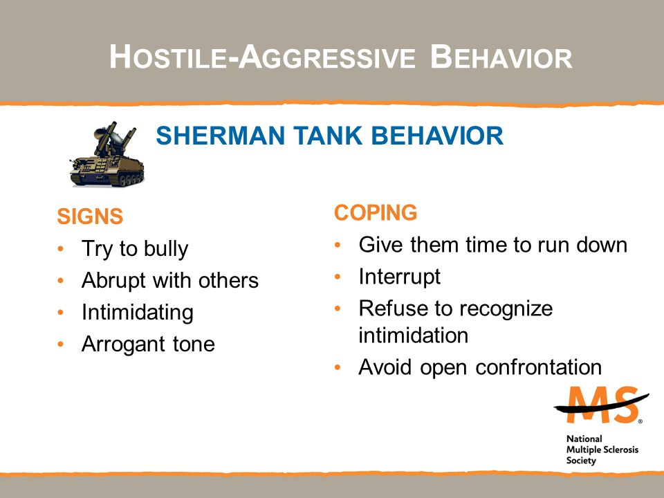H OSTILE -A GGRESSIVE B EHAVIOR SIGNS Try to bully Abrupt with others Intimidating Arrogant tone COPING Give them time to run down Interrupt Refuse to recognize intimidation Avoid open confrontation SHERMAN TANK BEHAVIOR