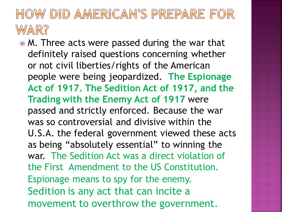  L. The Committee on Public Information was created to build support for the war at home. The government issued propaganda to encourage Americans to