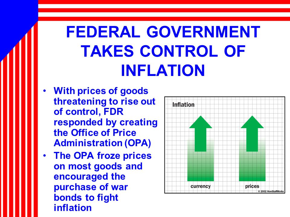 FEDERAL GOVERNMENT TAKES CONTROL OF INFLATION With prices of goods threatening to rise out of control, FDR responded by creating the Office of Price Administration (OPA) The OPA froze prices on most goods and encouraged the purchase of war bonds to fight inflation