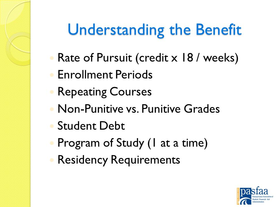 Understanding the Benefit Rate of Pursuit (credit x 18 / weeks) Enrollment Periods Repeating Courses Non-Punitive vs.