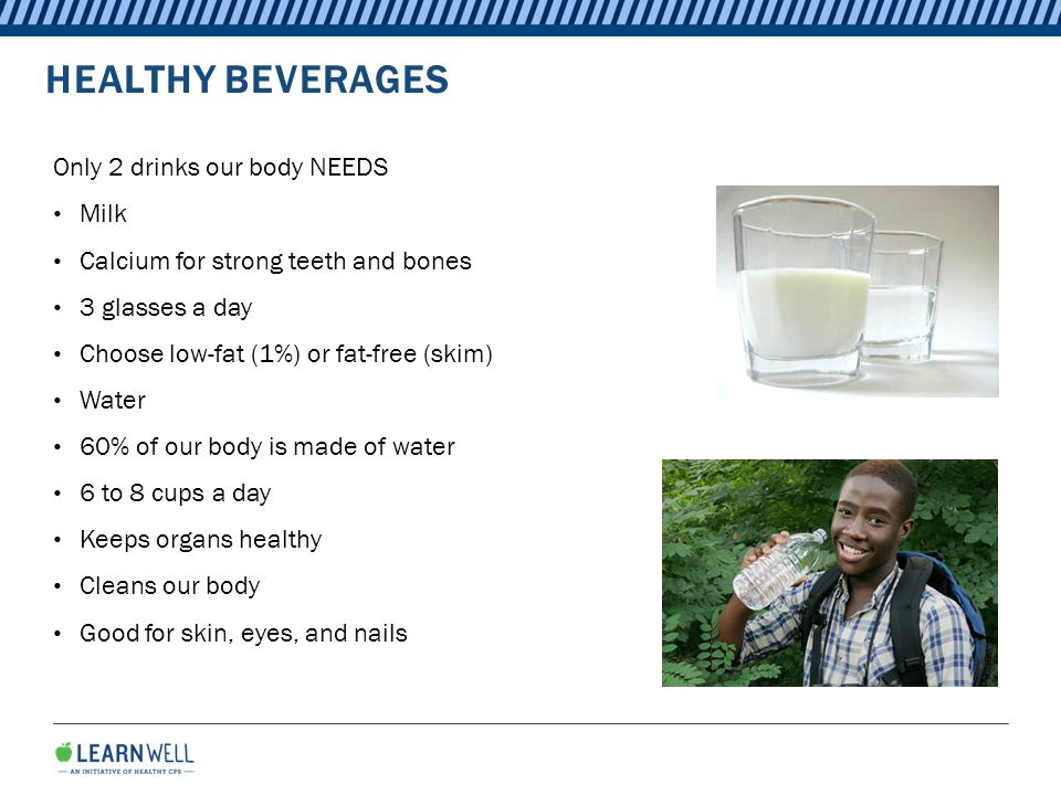 HEALTHY BEVERAGES Only 2 drinks our body NEEDS Milk Calcium for strong teeth and bones 3 glasses a day Choose low-fat (1%) or fat-free (skim) Water 60% of our body is made of water 6 to 8 cups a day Keeps organs healthy Cleans our body Good for skin, eyes, and nails