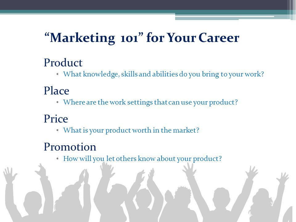 """Marketing 101"" for Your Career Product What knowledge, skills and abilities do you bring to your work? Place Where are the work settings that can use"