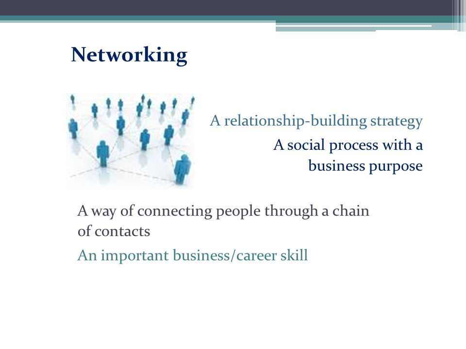 Networking A relationship-building strategy A social process with a business purpose A way of connecting people through a chain of contacts An importa