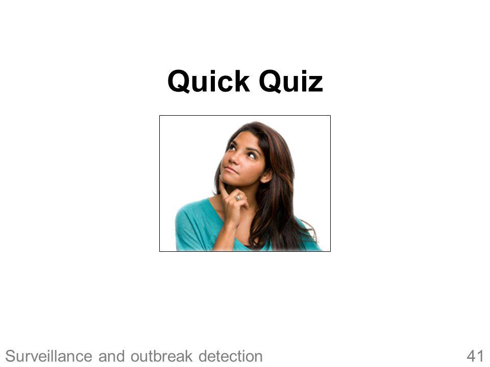 41Surveillance and outbreak detection Quick Quiz