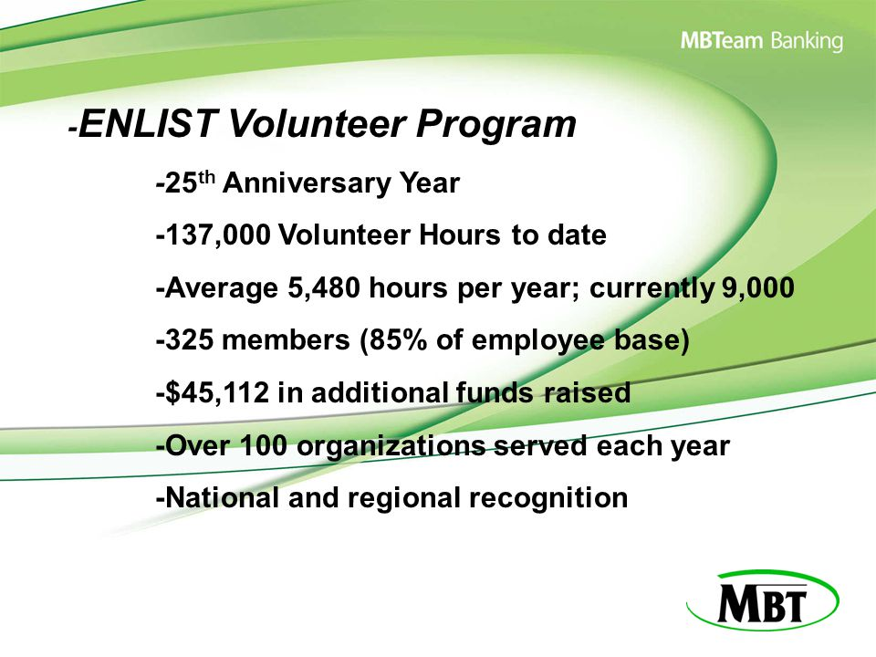 - ENLIST Volunteer Program -25 th Anniversary Year -137,000 Volunteer Hours to date -Average 5,480 hours per year; currently 9,000 -325 members (85% o