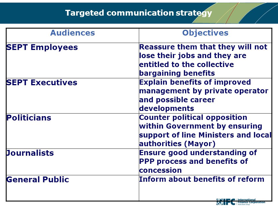 Targeted communication strategy AudiencesObjectives SEPT Employees Reassure them that they will not lose their jobs and they are entitled to the collective bargaining benefits SEPT Executives Explain benefits of improved management by private operator and possible career developments Politicians Counter political opposition within Government by ensuring support of line Ministers and local authorities (Mayor) Journalists Ensure good understanding of PPP process and benefits of concession General Public Inform about benefits of reform