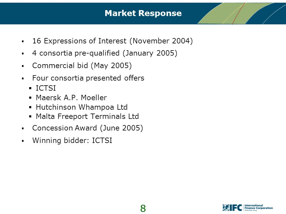 8 Market Response  16 Expressions of Interest (November 2004)  4 consortia pre-qualified (January 2005)  Commercial bid (May 2005)  Four consortia