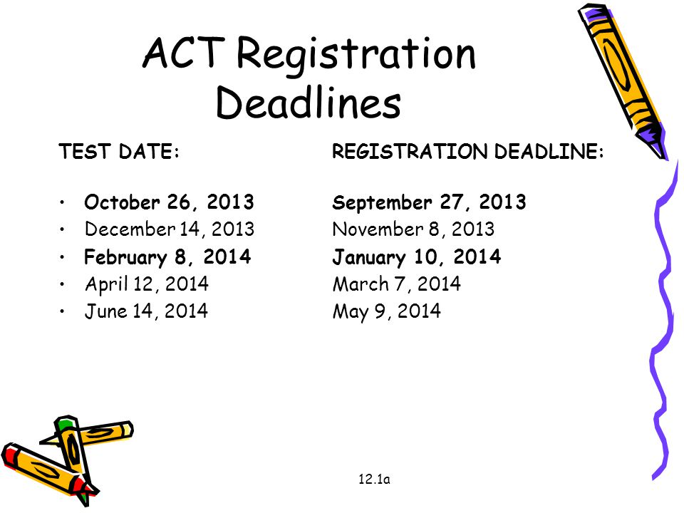 ACT Registration Deadlines TEST DATE:REGISTRATION DEADLINE: October 26, 2013September 27, 2013 December 14, 2013November 8, 2013 February 8, 2014January 10, 2014 April 12, 2014March 7, 2014 June 14, 2014May 9, 2014 12.1a