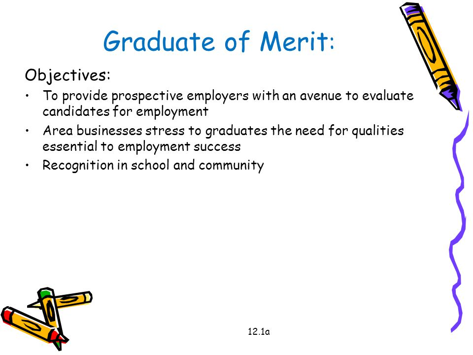 12.1a Graduate of Merit : Objectives: To provide prospective employers with an avenue to evaluate candidates for employment Area businesses stress to graduates the need for qualities essential to employment success Recognition in school and community