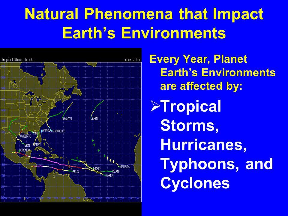 Natural Phenomena that Impact Earth's Environments Planet Earth's environments are affected by:  Landslides