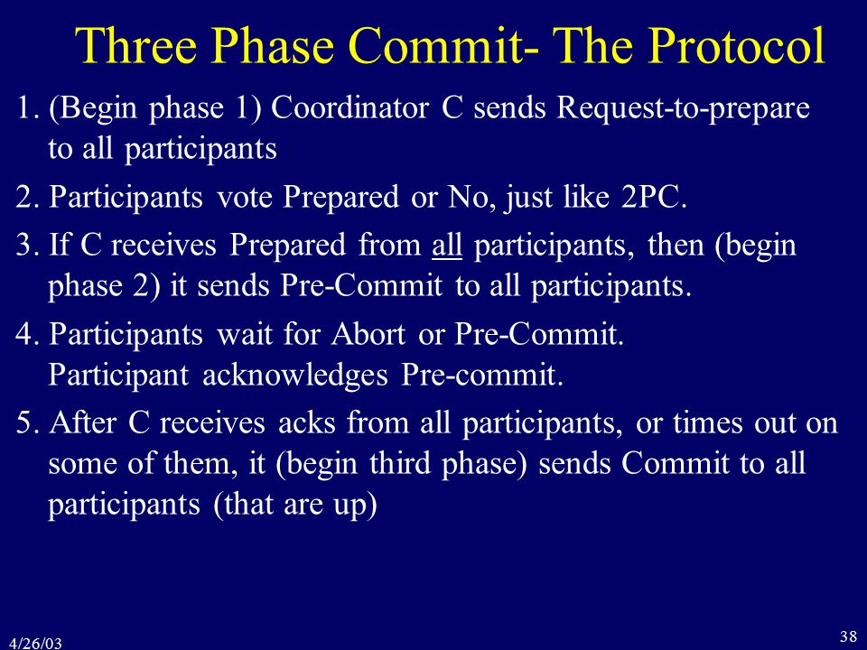4/26/03 38 Three Phase Commit- The Protocol 1.