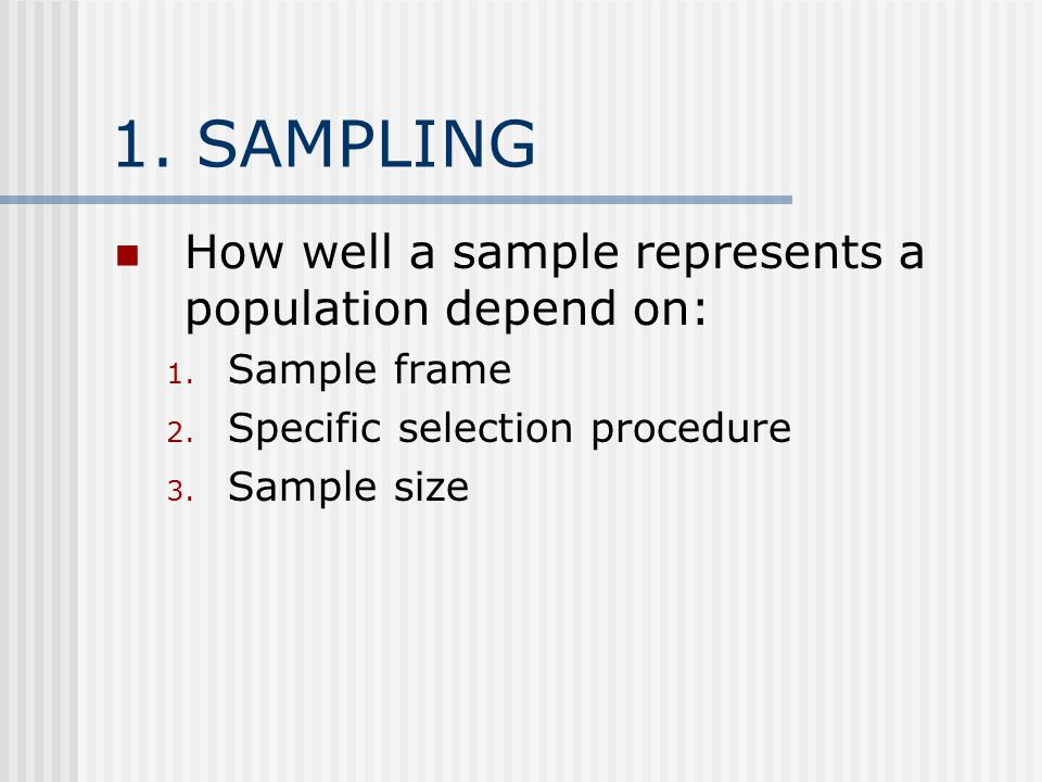 1.1.SAMPLE FRAME Sample of people that has a chance to be selected, given the sampling approach.