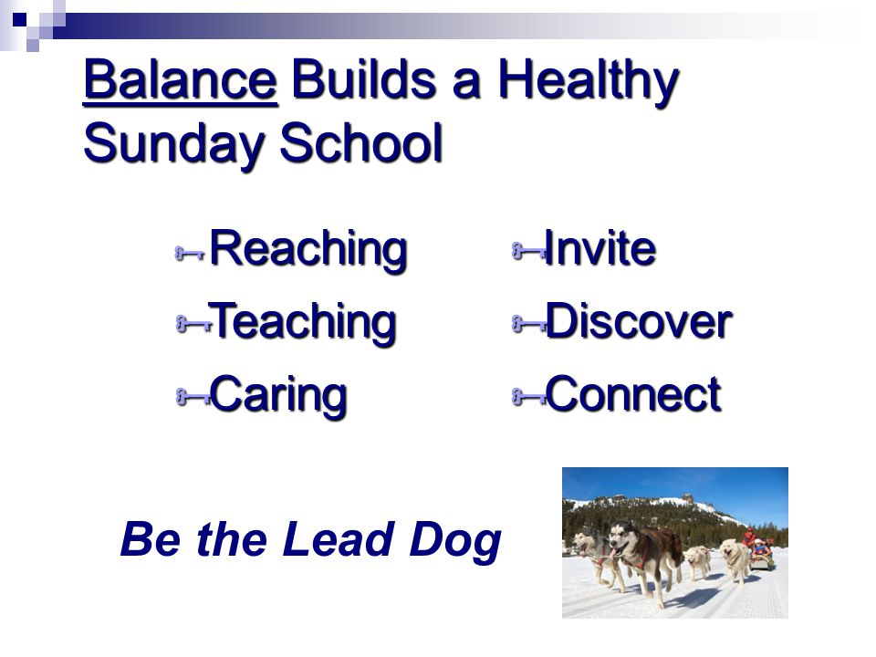 Balance Builds a Healthy Sunday School