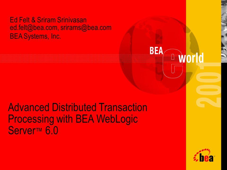 Agenda Why use transactions.What capabilities does BEA WebLogic Server 6.0 provide.